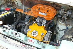 Honda Life two-cylinder EA engine with twin Keihin carburetors