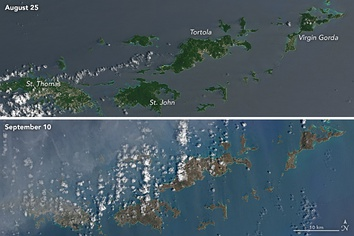 "Operational Land Imager imagery by Landsat 8 of the Virgin Islands from before and after Hurricane Irma's impact, depicting a ""browning"" of the landscape and vegetation.[122]"