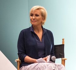 Brzezinski being interviewed at BookExpo America in 2018