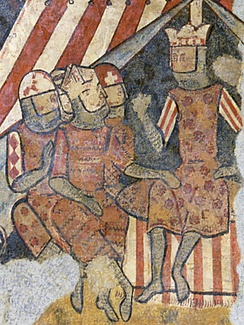 King James I of Aragon (furthest right) during his conquest of Mallorca in 1229.