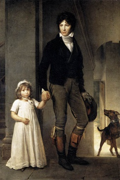Artist Jean-Baptiste Isabey wears a cropped riding coat and dark breeches tucked into boots. He carries his hat and gloves, 1795.