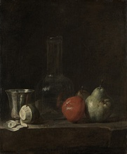 Jean-Baptiste-Siméon Chardin, Still Life with Glass Flask and Fruit, c. 1750