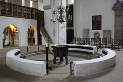 The baptismal font at Lübeck Cathedral, Germany