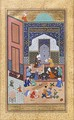 Layla and Majnun studying together, from a Persian miniature painting