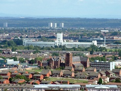 The 1938 Littlewood's Building next to Wavertree Technology Park, on Edge Lane, looking east from Liverpool Cathedral
