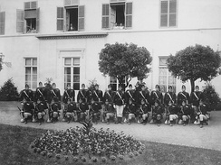 Soldiers of the Corps des Gendarmes et Volontaires pose for a photograph, 1910