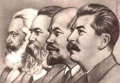 From left to right, Marx, Engels, Lenin and Stalin. Faces of key Marxist thinkers are often used to represent some Marxism branches, with variations including Mao and others.