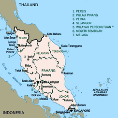 A map of Malaya.
