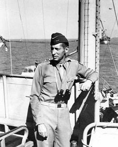 Lieutenant General Mark Clark on board USS Ancon during the landings at Salerno, Italy, 12 September 1943.