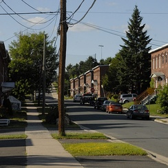 Residential area of Marysville. The neighbourhood is located on the north side of the Saint John River.