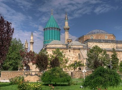 Mevlana Museum in Konya was built by the Seljuk Turks in 1274. Konya was the capital of the Seljuk Sultanate of Rum (Anatolia).[68]