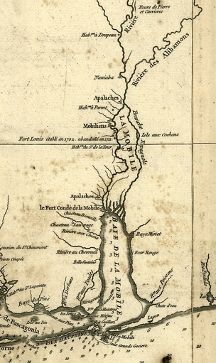 A detail of Jean Baptiste Bourguignon d'Anville's 1732 map of Louisiana showing Mobile Bay, the Mobile colony (Fort Condé de la Mobile), many rivers, bays, Native American settlements & Isle Dauphine.