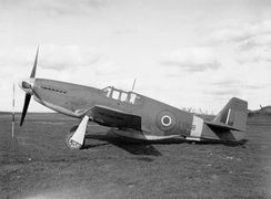 A Royal Air Force North American Mustang Mk III (FX908) on the ground at Hucknall