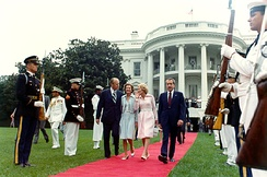 The Fords escort the Nixons as they depart the White House on Nixon's final day as president, August 9, 1974.