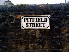 Pitfield Street sign, Pit Village, Beamish Museum