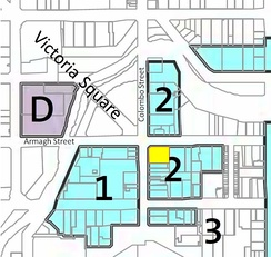 The building's land highlighted in yellow within the designation of the Performing Arts Precinct[8]