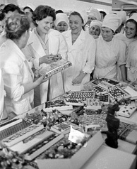 Valentina Tereshkova, the first woman in space, visiting the Lviv confectionery, Ukrainian SSR, 1967