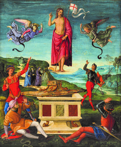 Depictions of the Resurrection of Jesus are central to Christian art (Resurrection of Christ by Raphael, 1499-1502)