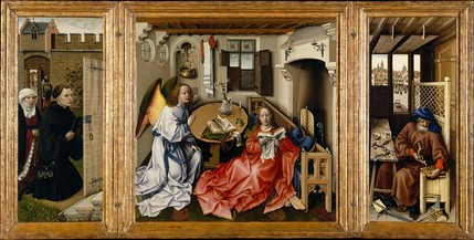 At work in the Mérode Altarpiece, 1420s, attributed to Robert Campin and his workshop