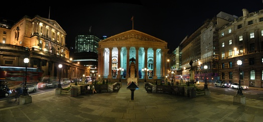 The Bank of England (left) and the Royal Exchange (centre) are two of the many significant buildings in the City of London.