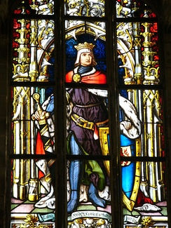 Rudolph I of Germany at stained glass in Saint Jerome's chapel in town hall in Olomouc (Czech Republic).