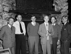 The S-1 Executive Committee at Bohemian Grove, September 13, 1942. From left to right are Urey, Ernest O. Lawrence, James B. Conant, Lyman J. Briggs, Eger V. Murphree, and Arthur H. Compton.