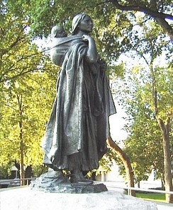 Statue of Sacagawea, a Shoshone woman who accompanied the Lewis and Clark Expedition