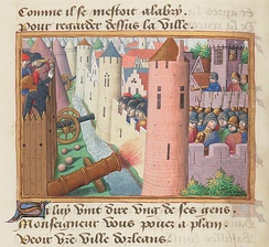 Thomas Montagu, 4th Earl of Salisbury is fatally injured at the siege of Orléans in 1428 (illustration from Vigiles de Charles VII).