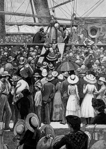 Migrants to Australia disembarking from a ship, ca. 1885