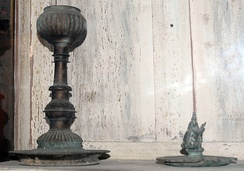 Old table lamps at Archaeological Museum, Sri Lanka