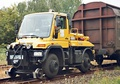 Unimog 405/UGN road-rail vehicle used as a rail car mover.
