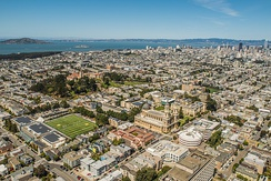 Aerial view of San Francisco, facing northeast, with USF in the foreground.