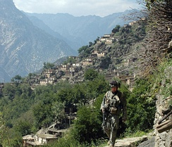10th Mountain Soldier on patrol in Nuristan Province.
