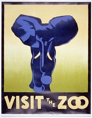 WPA poster promoting the zoo as a place to visit, showing an elephant