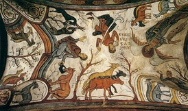 The Angel appearing to the Shepherds, fresco of the 12th century, Basilica of San Isidoro, León