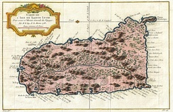 A 1758 map of Saint Lucia