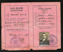 1940 Albanian Kingdom Laissez Passer issued for traveling to Fascist Italy after the invasion of 1939.