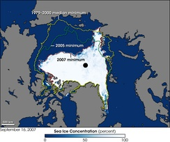 Arctic shrinkage as of 2007 compared to previous years