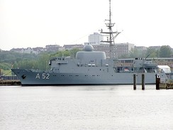 A52 Oste, an Oste class ELINT (Electronic signals intelligence) and reconnaissance ship, of the German Navy