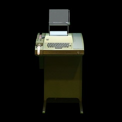 A Teletype Model 33 ASR with paper tape reader and punch, as used for early modem-based computing