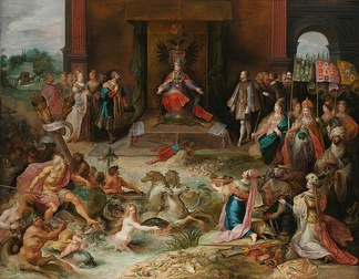 In Allegory on the abdication of Emperor Charles V in Brussels, Frans Francken the Younger depicts Charles V in the allegorical act of dividing the entire world between Philip II of Spain and Emperor Ferdinand I.