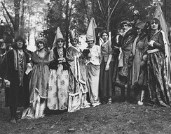 Webb (third from right) in a 1917 theatre production of National Red Cross Pageant with Eugene O'Brien, Ivy Troutman, Jeanne Eagels, and others