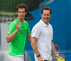 Murray with new coach Jonas Björkman during practice at the 2015 Aegon Championships