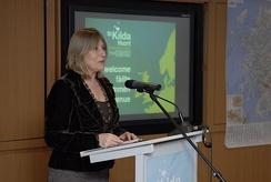 Anne Lorne Gillies speaking publicly in the Scottish Gaelic language