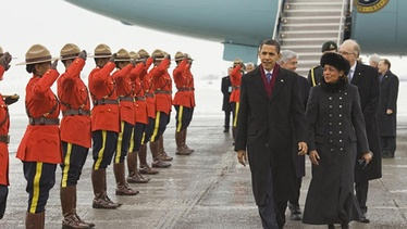 President Obama is greeted by Canada's Governor General Michaëlle Jean upon arriving in Ottawa, February 19, 2009.