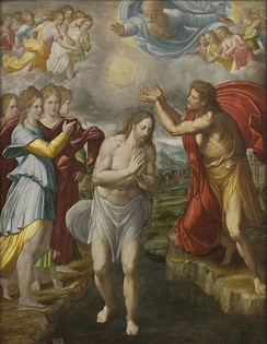 The criterion of embarrassment developed during the second quest was applied to the Baptism of Jesus, depicted here in a c. 1567 painting by Juan Fernández Navarrete.[47]