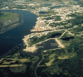 Aerial view of Bethel on the Kuskokwim River. Bethel (Mamterilleq) is regional hub of Yup'ik homeland.