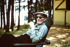 Carrigan at his summer home on Annabessacook Lake, Winthrop, Maine, July 1965