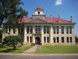 The Blanco County Courthouse of 1916 was the first permanent courthouse built after the county seat moved to Johnson City in 1890.
