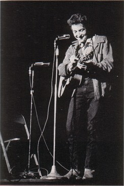Bob Dylan performing at St. Lawrence University in November 1963[citation needed]